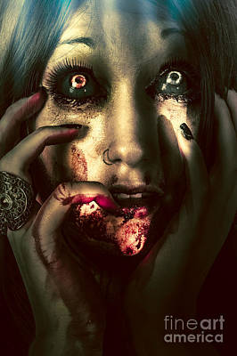Dark Scary Female Face Expressing Bloody Fear Poster by Jorgo Photography - Wall Art Gallery