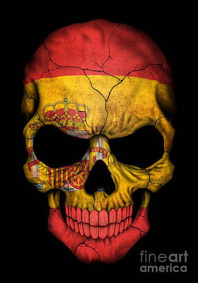 Dark Spanish Flag Skull Poster by Jeff Bartels