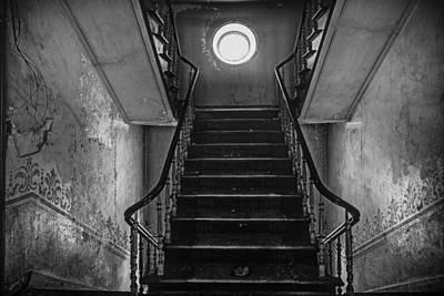 Dark Stairs To Attic - Urban Exploration Poster by Dirk Ercken