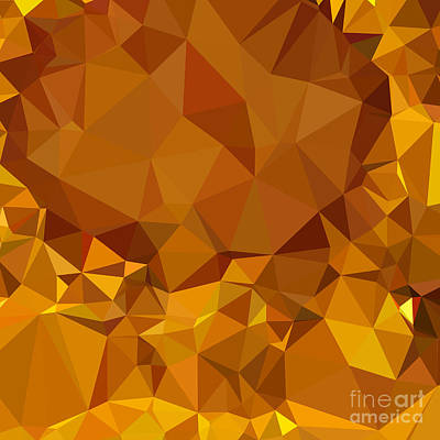 Dark Tangerine Yellow Abstract Low Polygon Background Poster