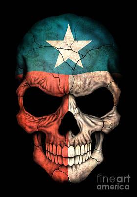 Dark Texas Flag Skull Poster by Jeff Bartels