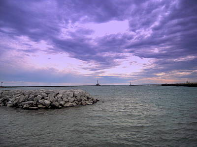 Darkening Skies Over Lake Michigan Poster