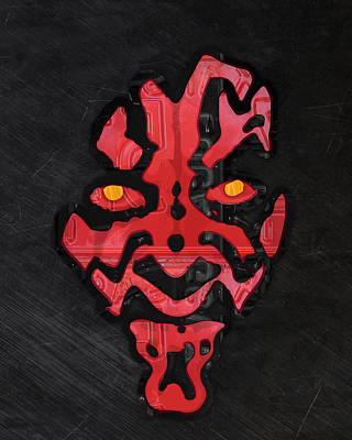 Darth Maul Sith Lord Star Wars Recycled Vintage License Plate Fan Art Poster