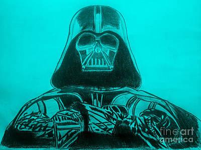 Darth Vader Rogue One - Blue Background Poster by Scott D Van Osdol
