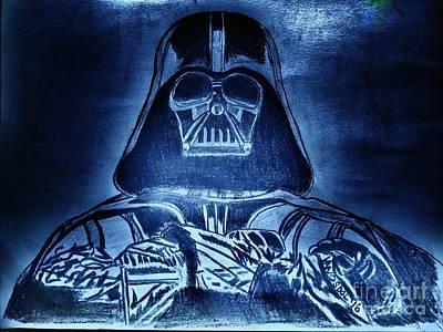 Darth Vader Rogue One - Blue Glow Poster by Scott D Van Osdol