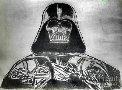 Darth Vader Rogue One - Charcoal Poster by Scott D Van Osdol