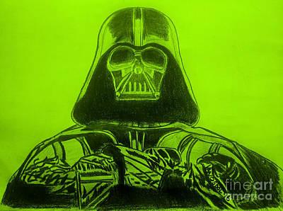 Darth Vader Rogue One - Green Background Poster by Scott D Van Osdol
