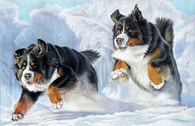 Poster featuring the painting Dashing Through The Snow by Donna Mulley