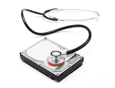 Data Recovery Stethoscope And Hard Drive Disc Poster by Jorgo Photography - Wall Art Gallery