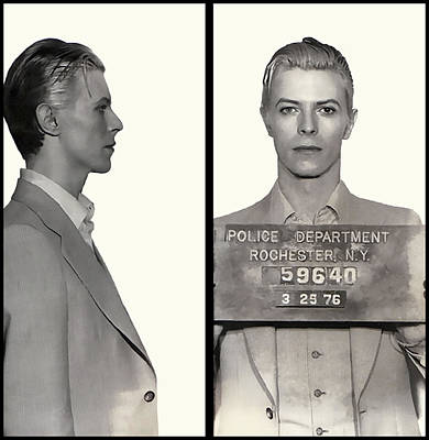 David Bowie Mugshot 1976 Poster