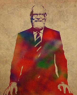 David Letterman Watercolor Portrait Poster
