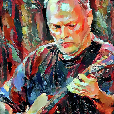 David With His Guitar Poster by Yury Malkov