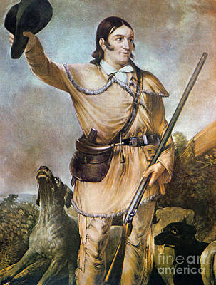 Davy Crockett With His Hunting Dogs In 1836 Poster by American School
