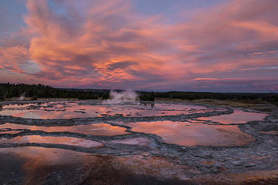 Poster featuring the photograph Dawn At Great Fountain Geyser by Roman Kurywczak