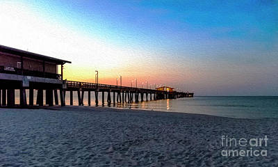 Dawn At Gulf Shores Pier Al Seascape 1283a Digital Painting Poster