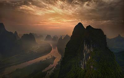 Dawn At Li River Poster by Mieke Suharini