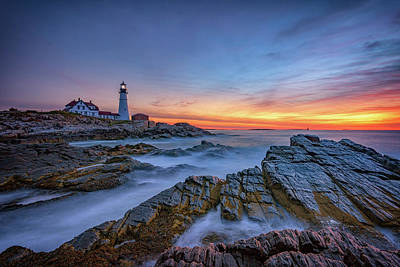 Dawn At Portland Head Lighthouse Poster by Rick Berk