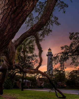 Dawn At Saint Simons Lighthouse Poster by Chris Bordeleau