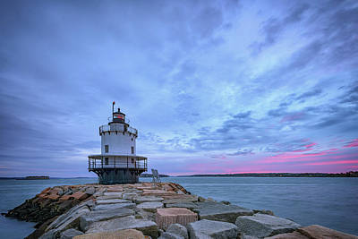 Dawn At Spring Point Ledge Lighthouse Poster by Rick Berk