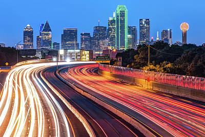 Poster featuring the photograph Dawn At The Dallas Skyline - Texas Cityscape by Gregory Ballos