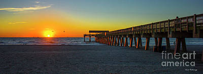 Dawn At Tybee Pier Tybee Island Sunrise Art Poster