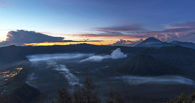 Dawn Breaking Scene Of Mt Bromo Poster