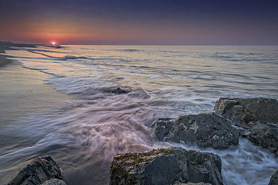 Dawn Breaks At Cape May Poster by Rick Berk