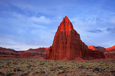 Poster featuring the photograph Dawn Glow In Cathedral Valley. by Johnny Adolphson