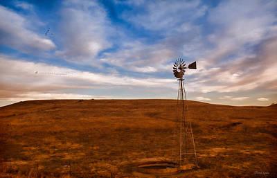 Dawn Prairie Windmill Poster