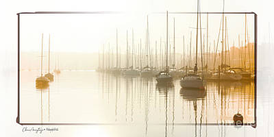 Dawn Reflections - Yachts At Anchor On The River Poster