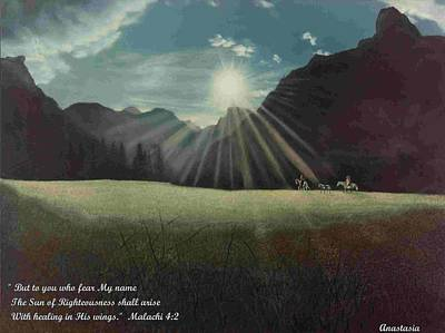Poster featuring the painting Dawn Riders With Verse by Anastasia Savage Ealy