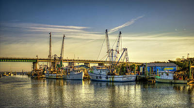 Dawns Early Reflections Tybee Island Shrimp Boat Art Poster by Reid Callaway