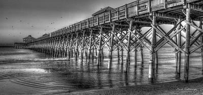 Dawns Reflection Folly Beach Pier Charleston South Carolina Poster