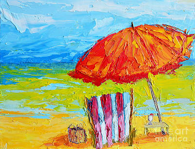 Day At The Beach - Modern Impressionist Knife Palette Oil Painting Poster by Patricia Awapara