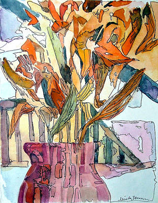 Day Lilies In A Rose Vase Poster by Mindy Newman