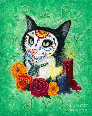 Poster featuring the painting Day Of The Dead Cat Candles - Sugar Skull Cat by Carrie Hawks