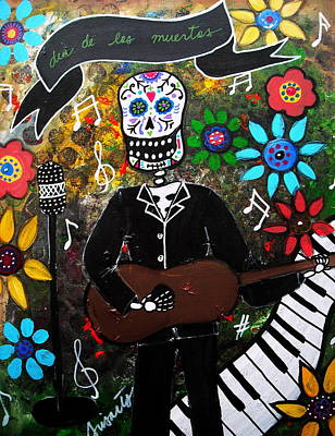 Day Of The Dead Musician Poster by Pristine Cartera Turkus
