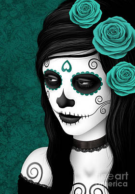Day Of The Dead Sugar Skull Woman With Teal Blue Roses Poster by Jeff Bartels
