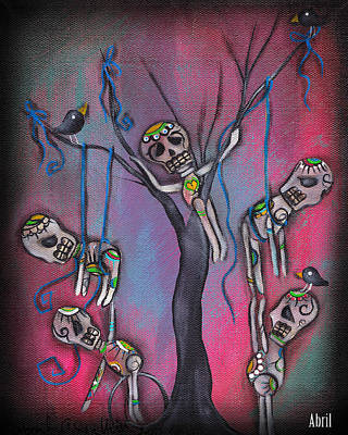 Day Of The Dead Tree Poster by  Abril Andrade Griffith