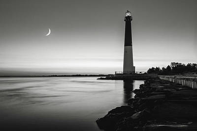 Poster featuring the photograph Daybreak At Barnegat, Black And White by Eduard Moldoveanu