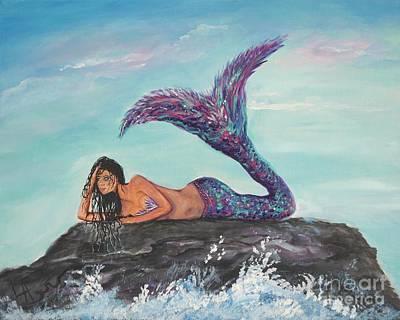 Daydreaming Mermaid Poster by Leslie Allen