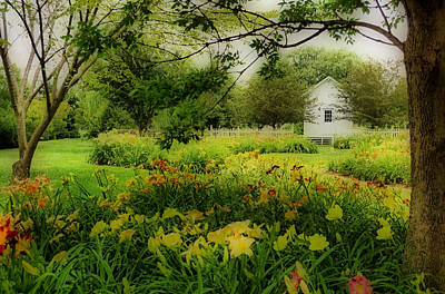 Daylilies In The Garden Poster by Sandy Keeton