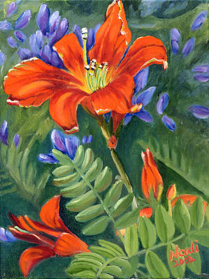 Poster featuring the painting Daylilies by Renate Nadi Wesley