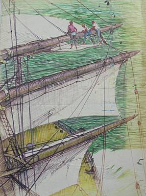 Poster featuring the drawing Days Of Sail by Mike Jeffries
