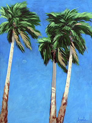 Poster featuring the painting Daytime Moon In Palm Springs by Linda Apple