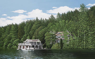 Poster featuring the painting De Groote Summer Home Muskoka by Kenneth M Kirsch