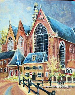 Poster featuring the painting De Ode Kerk by Linda Shackelford