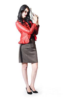 Dead Female Secret Agent Holding Hand Gun Poster by Jorgo Photography - Wall Art Gallery
