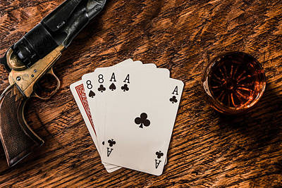 Dead Mans Hand A Gun And A Shot Of Whiskey Poster by Semmick Photo