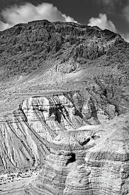 Dead Sea Scroll Caves In B And W Poster by Lydia Holly